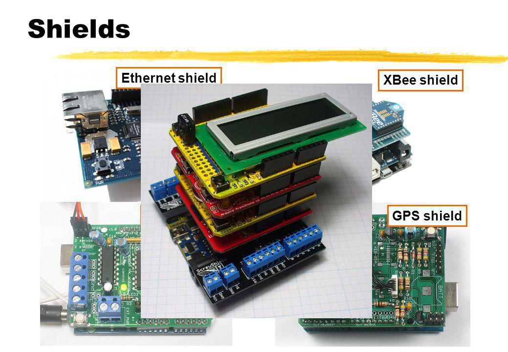Shields Ethernet shield Motor shield XBee shield GPS shield
