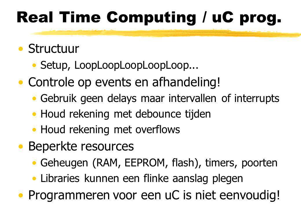 Real Time Computing / uC prog. Structuur Setup, LoopLoopLoopLoopLoop... Controle op events en afhandeling! Gebruik geen delays maar intervallen of int