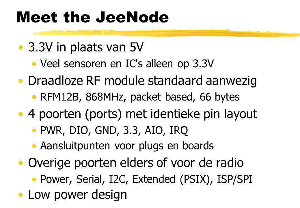 3.3V in plaats van 5V Veel sensoren en IC s alleen op 3.3V Draadloze RF module standaard aanwezig RFM12B, 868MHz, packet based, 66 bytes 4 poorten (ports) met identieke pin layout PWR, DIO, GND, 3.3, AIO, IRQ Aansluitpunten voor plugs en boards Overige poorten elders of voor de radio Power, Serial, I2C, Extended (PSIX), ISP/SPI Low power design