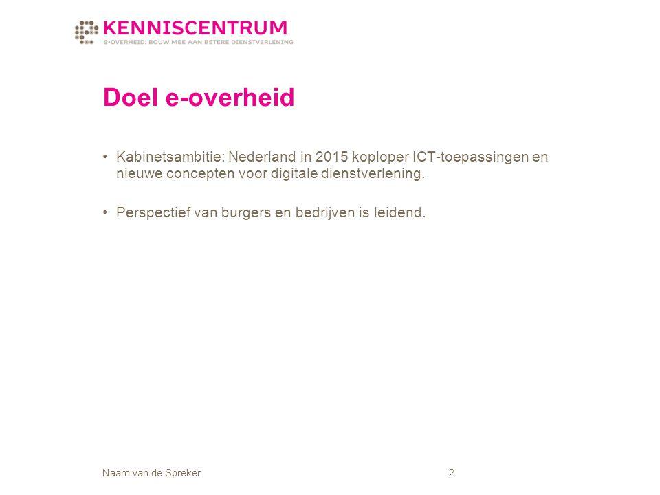Naam van de Spreker2 Kabinetsambitie: Nederland in 2015 koploper ICT-toepassingen en nieuwe concepten voor digitale dienstverlening.