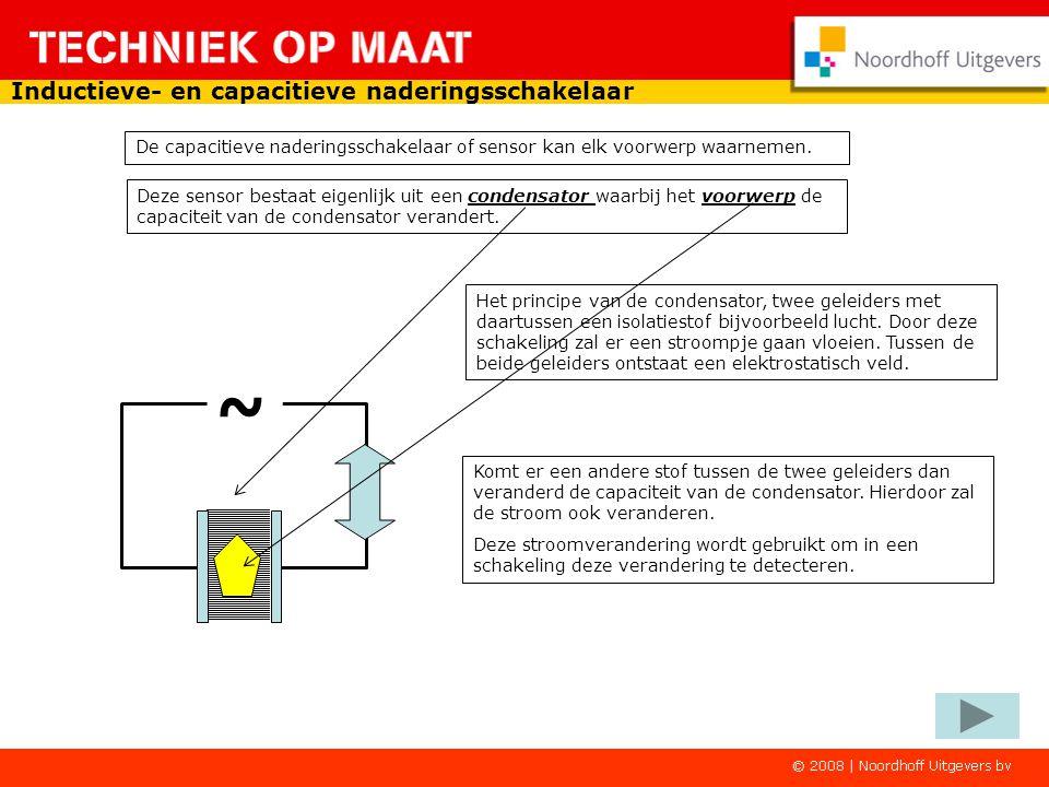 Inductieve- en capacitieve naderingsschakelaar De capacitieve naderingsschakelaar of sensor kan elk voorwerp waarnemen.