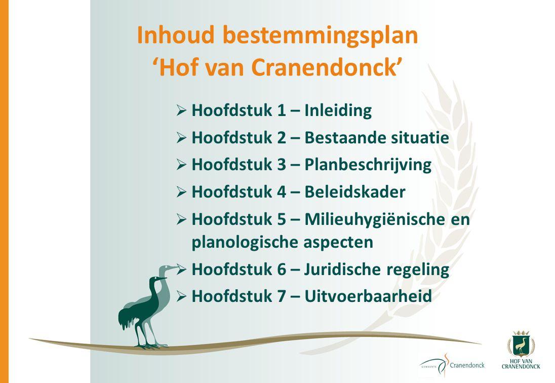 Inhoud bestemmingsplan 'Hof van Cranendonck'  Hoofdstuk 1 – Inleiding  Hoofdstuk 2 – Bestaande situatie  Hoofdstuk 3 – Planbeschrijving  Hoofdstuk