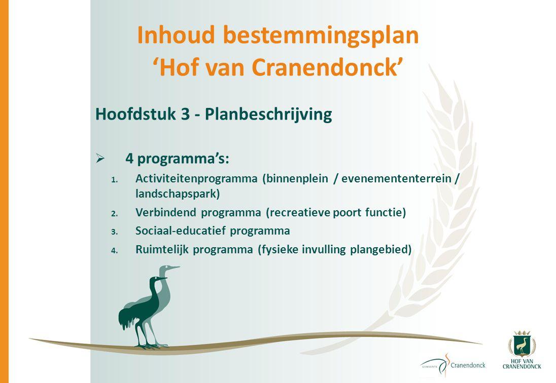 Inhoud bestemmingsplan 'Hof van Cranendonck' Hoofdstuk 3 - Planbeschrijving  4 programma's: 1. Activiteitenprogramma (binnenplein / evenemententerrei