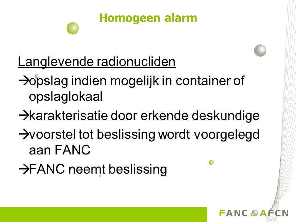 Langlevende radionucliden  opslag indien mogelijk in container of opslaglokaal  karakterisatie door erkende deskundige  voorstel tot beslissing wordt voorgelegd aan FANC  FANC neemt beslissing