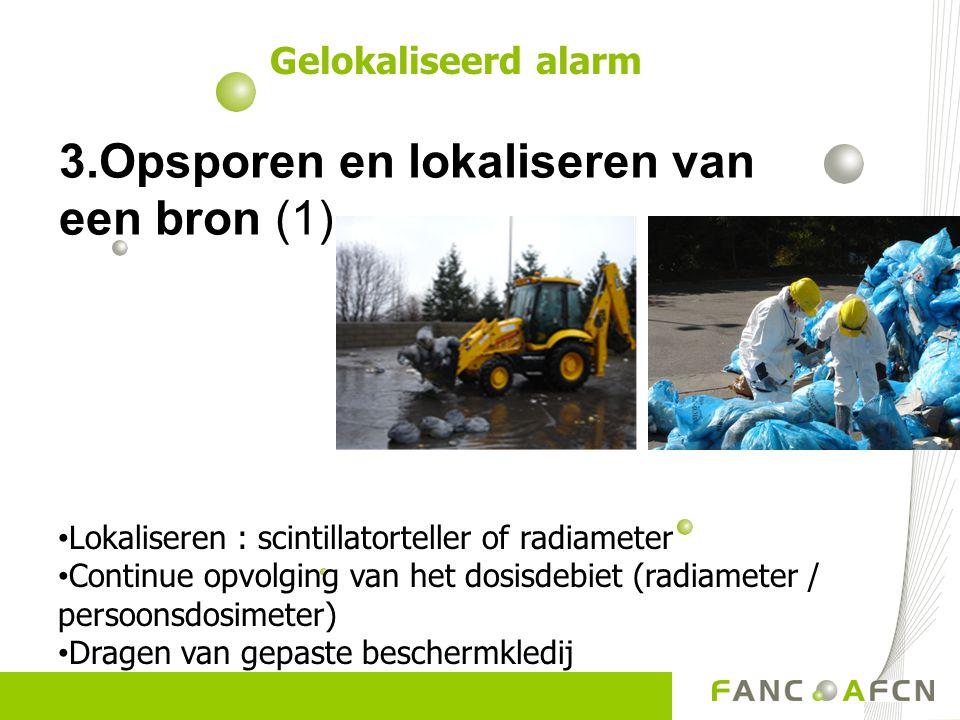 3.Opsporen en lokaliseren van een bron (1) Gelokaliseerd alarm Lokaliseren : scintillatorteller of radiameter Continue opvolging van het dosisdebiet (radiameter / persoonsdosimeter) Dragen van gepaste beschermkledij