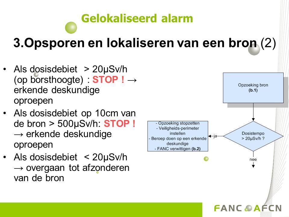 3.Opsporen en lokaliseren van een bron (2) Als dosisdebiet > 20µSv/h (op borsthoogte) : STOP .