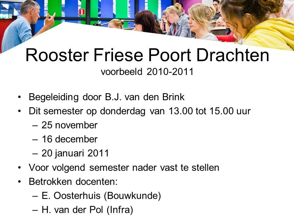 Rooster Friese Poort Drachten voorbeeld 2010-2011 Begeleiding door B.J. van den Brink Dit semester op donderdag van 13.00 tot 15.00 uur –25 november –