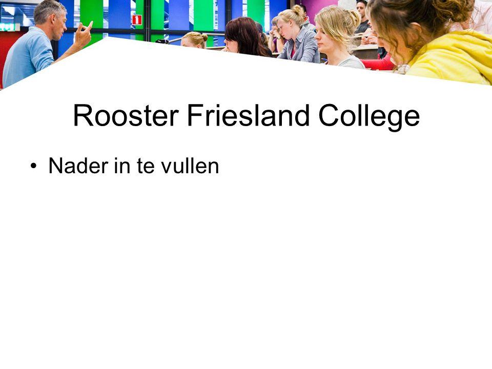 Rooster Friesland College Nader in te vullen
