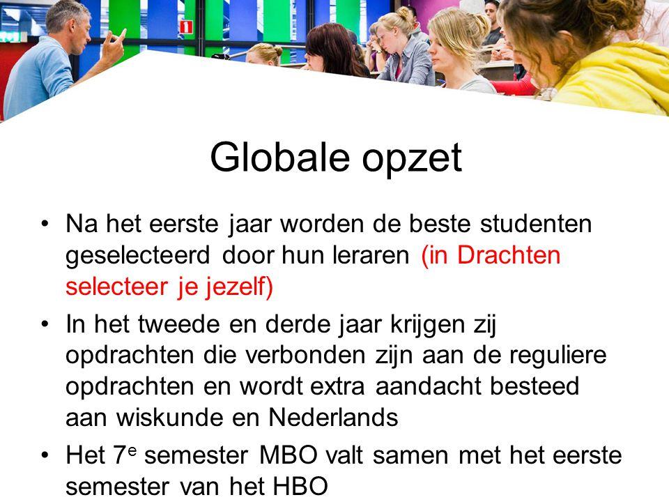 Globale opzet Na het eerste jaar worden de beste studenten geselecteerd door hun leraren (in Drachten selecteer je jezelf) In het tweede en derde jaar krijgen zij opdrachten die verbonden zijn aan de reguliere opdrachten en wordt extra aandacht besteed aan wiskunde en Nederlands Het 7 e semester MBO valt samen met het eerste semester van het HBO
