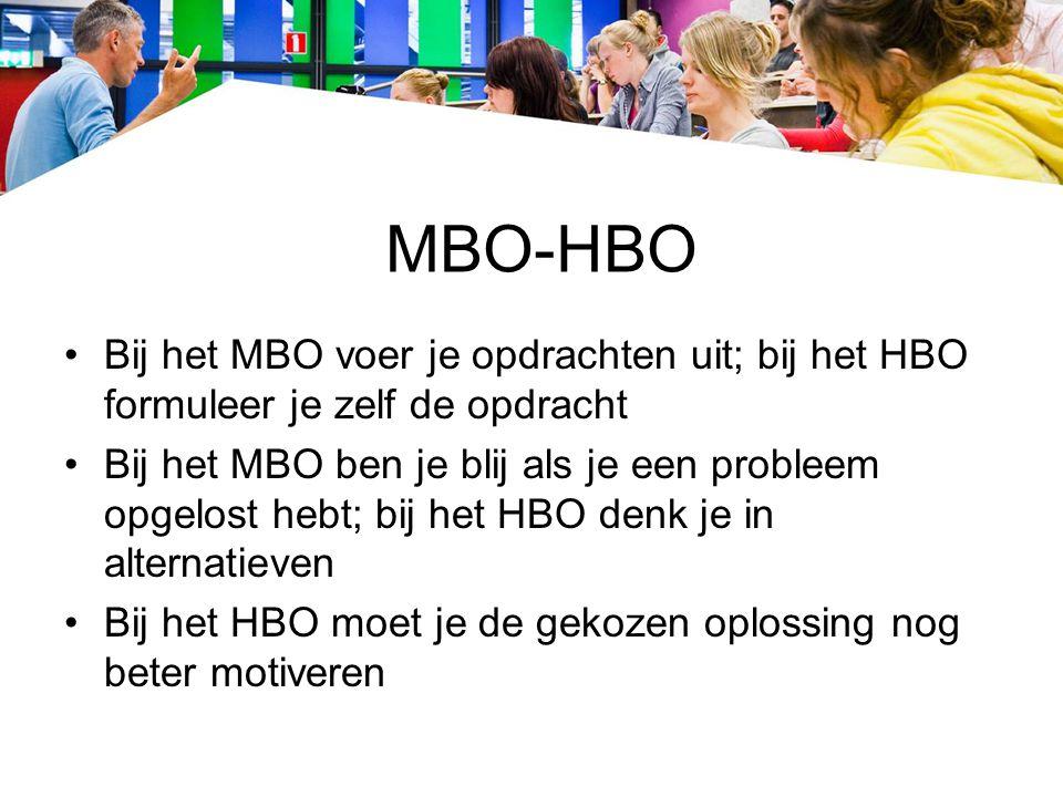 MBO-HBO Bij het MBO voer je opdrachten uit; bij het HBO formuleer je zelf de opdracht Bij het MBO ben je blij als je een probleem opgelost hebt; bij h
