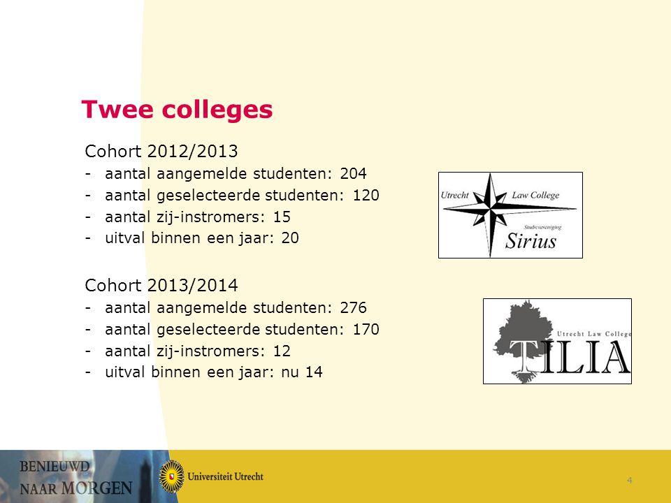 Twee colleges Cohort 2012/2013 -aantal aangemelde studenten: 204 -aantal geselecteerde studenten: 120 -aantal zij-instromers: 15 -uitval binnen een jaar: 20 Cohort 2013/2014 -aantal aangemelde studenten: 276 -aantal geselecteerde studenten: 170 -aantal zij-instromers: 12 -uitval binnen een jaar: nu 14 4