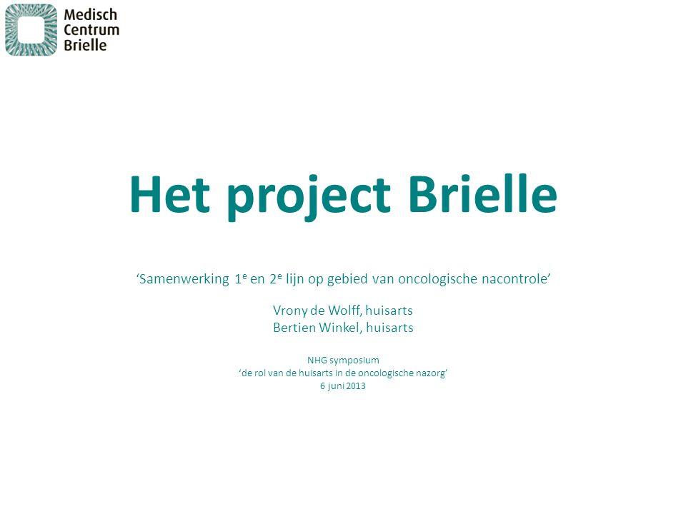 Het project Brielle 'Samenwerking 1 e en 2 e lijn op gebied van oncologische nacontrole' Vrony de Wolff, huisarts Bertien Winkel, huisarts NHG symposi