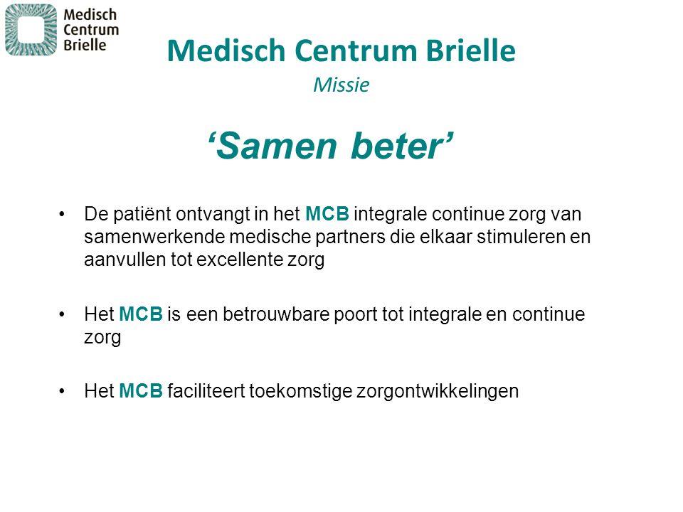 Medisch Centrum Brielle Missie De patiënt ontvangt in het MCB integrale continue zorg van samenwerkende medische partners die elkaar stimuleren en aan