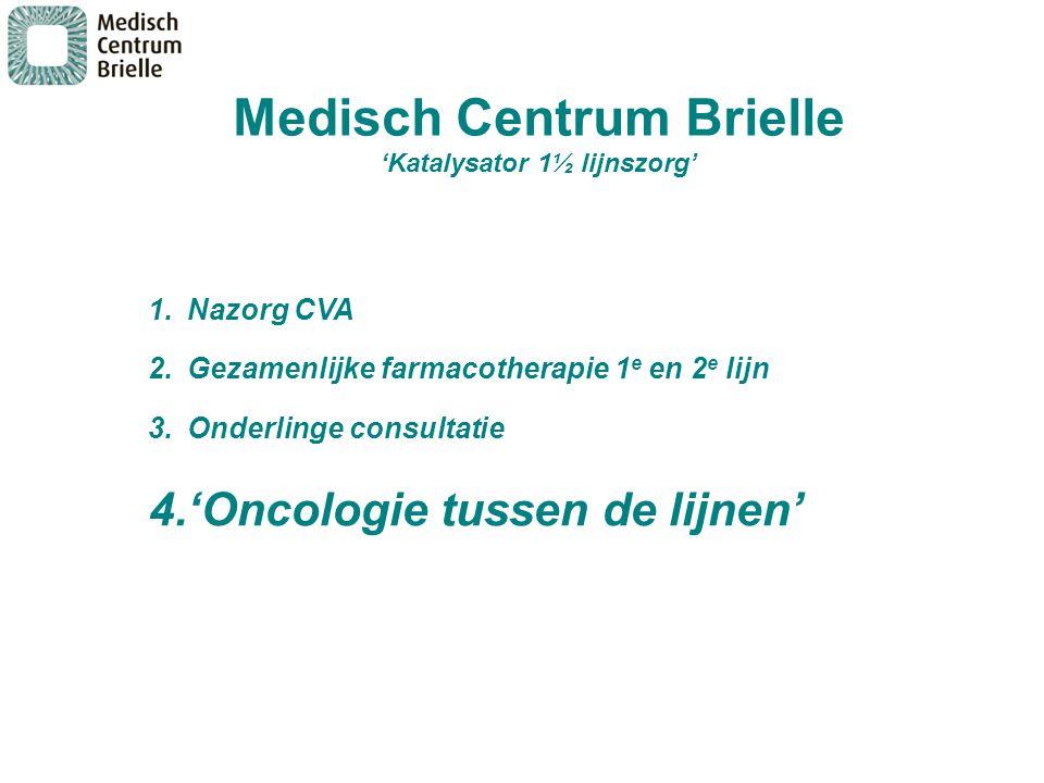 1.Nazorg CVA 2.Gezamenlijke farmacotherapie 1 e en 2 e lijn 3.Onderlinge consultatie 4.'Oncologie tussen de lijnen' Medisch Centrum Brielle 'Katalysat