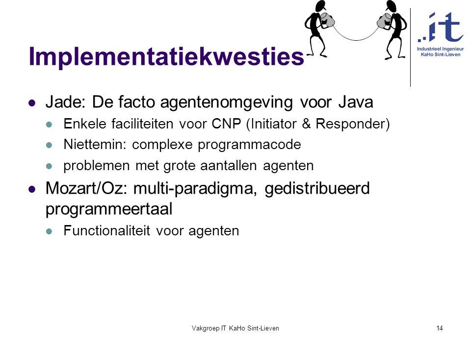 Vakgroep IT KaHo Sint-Lieven14 Implementatiekwesties Jade: De facto agentenomgeving voor Java Enkele faciliteiten voor CNP (Initiator & Responder) Nie