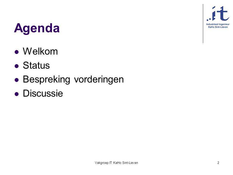 Vakgroep IT KaHo Sint-Lieven2 Agenda Welkom Status Bespreking vorderingen Discussie
