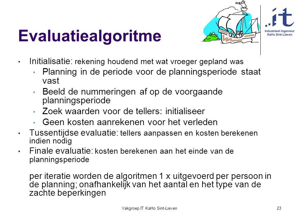 Vakgroep IT KaHo Sint-Lieven23 Evaluatiealgoritme Initialisatie: rekening houdend met wat vroeger gepland was Planning in de periode voor de plannings