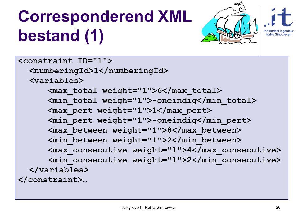 Vakgroep IT KaHo Sint-Lieven26 Corresponderend XML bestand (1) 1 6 -oneindig 1 -oneindig 8 2 4 2 …