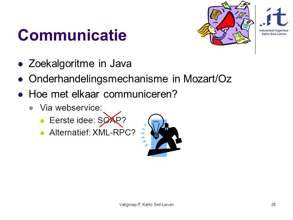 Vakgroep IT KaHo Sint-Lieven28 Communicatie Zoekalgoritme in Java Onderhandelingsmechanisme in Mozart/Oz Hoe met elkaar communiceren? Via webservice: