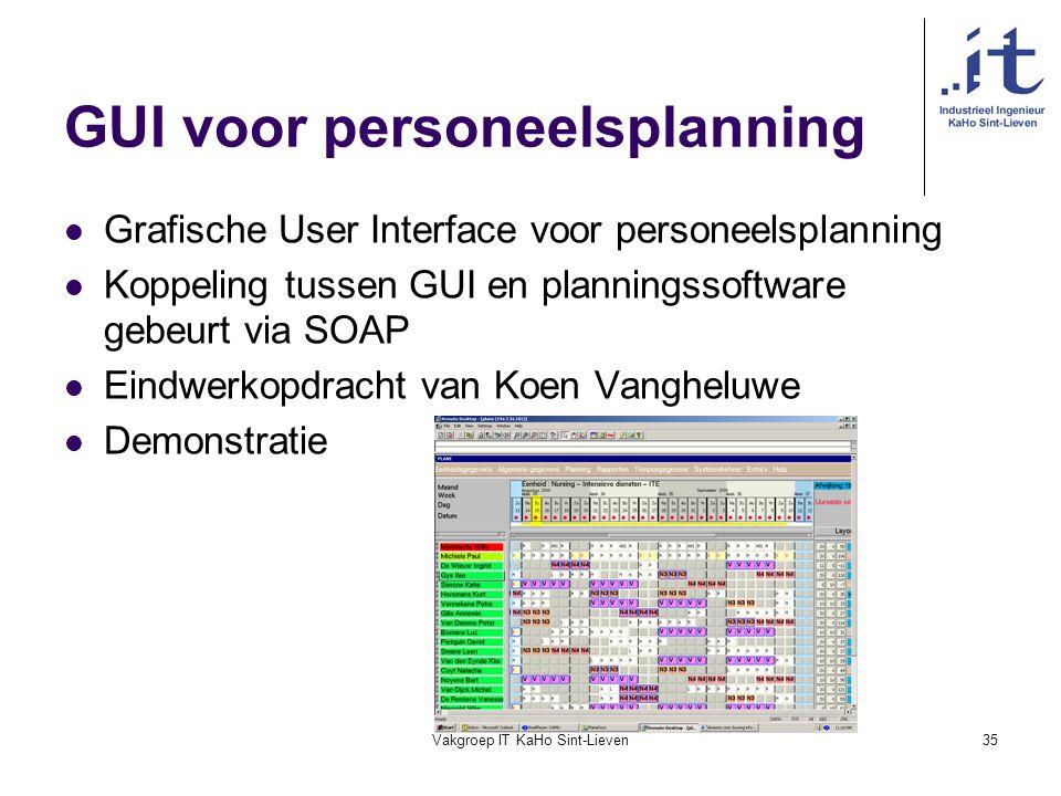 Vakgroep IT KaHo Sint-Lieven35 GUI voor personeelsplanning Grafische User Interface voor personeelsplanning Koppeling tussen GUI en planningssoftware