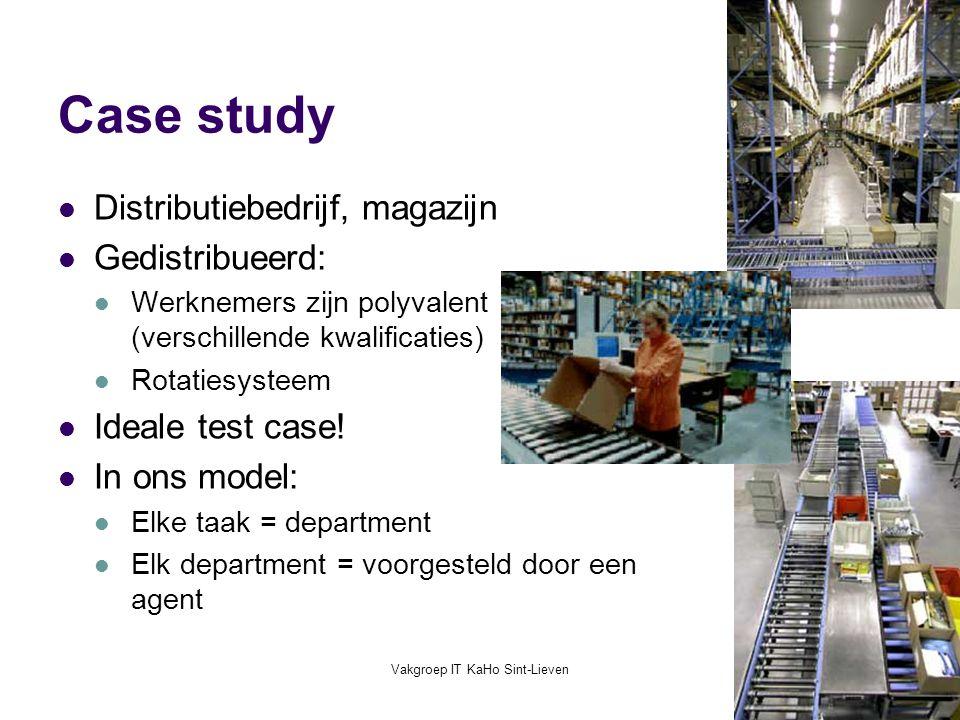 Vakgroep IT KaHo Sint-Lieven37 Case study Distributiebedrijf, magazijn Gedistribueerd: Werknemers zijn polyvalent (verschillende kwalificaties) Rotati