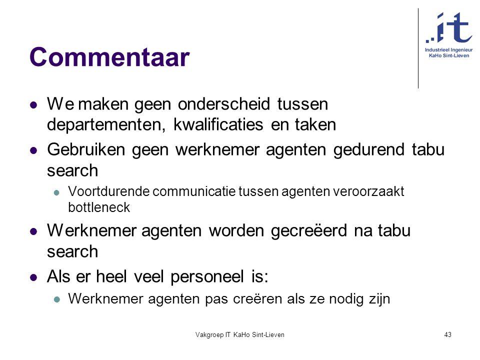Vakgroep IT KaHo Sint-Lieven43 Commentaar We maken geen onderscheid tussen departementen, kwalificaties en taken Gebruiken geen werknemer agenten gedu