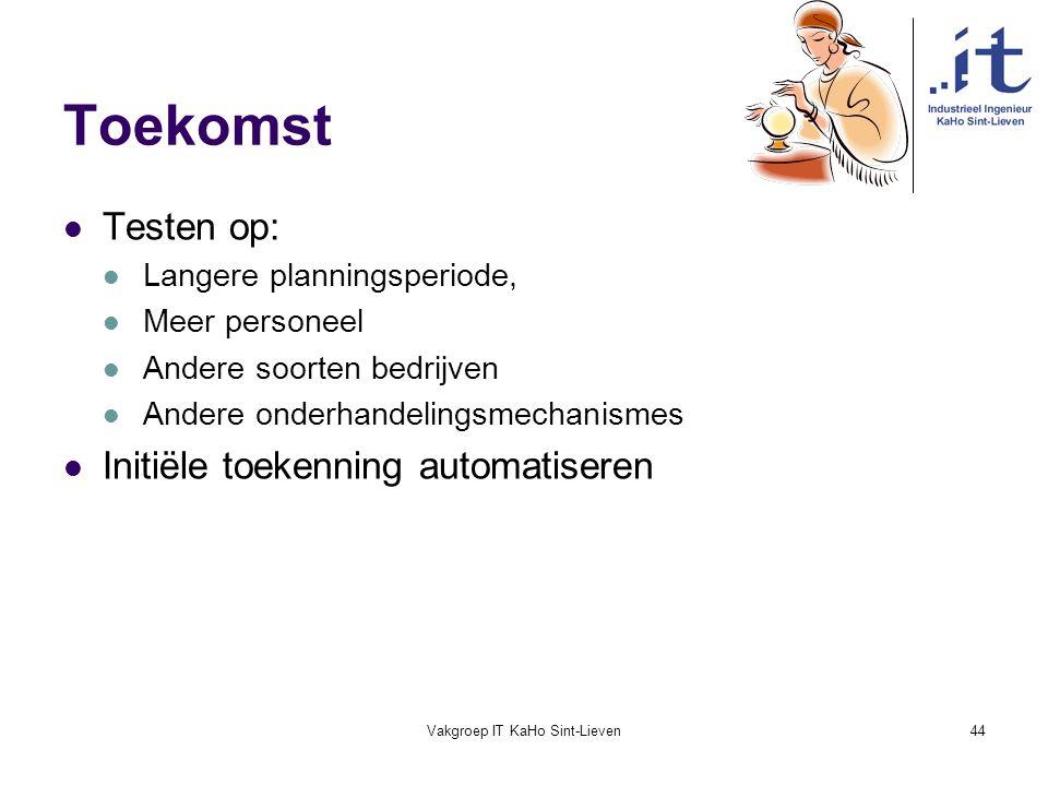 Vakgroep IT KaHo Sint-Lieven44 Toekomst Testen op: Langere planningsperiode, Meer personeel Andere soorten bedrijven Andere onderhandelingsmechanismes