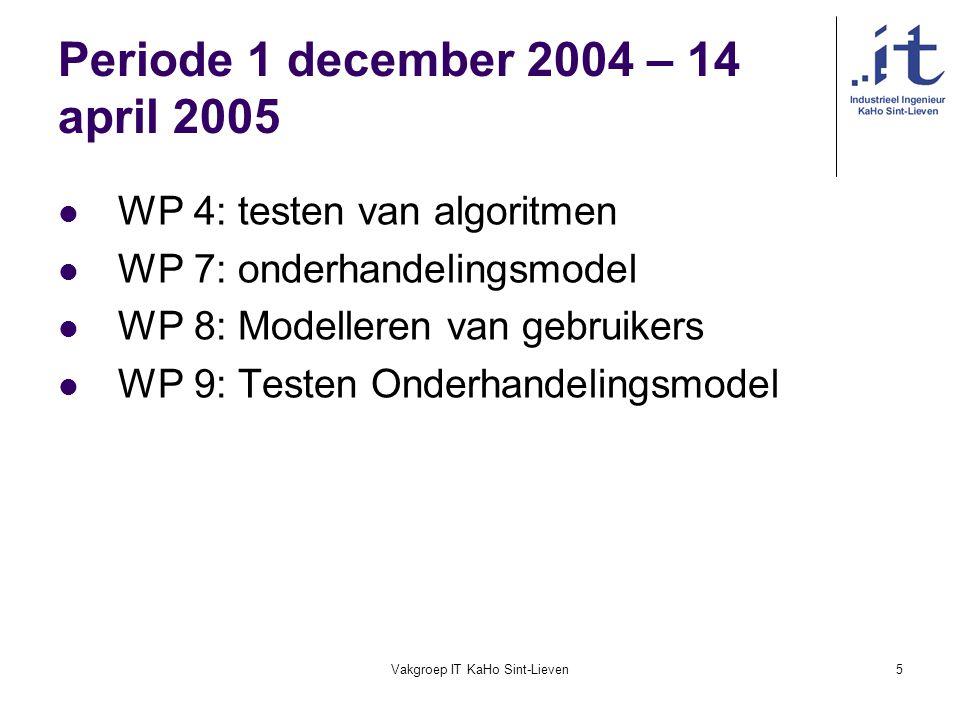 Vakgroep IT KaHo Sint-Lieven5 Periode 1 december 2004 – 14 april 2005 WP 4: testen van algoritmen WP 7: onderhandelingsmodel WP 8: Modelleren van gebr