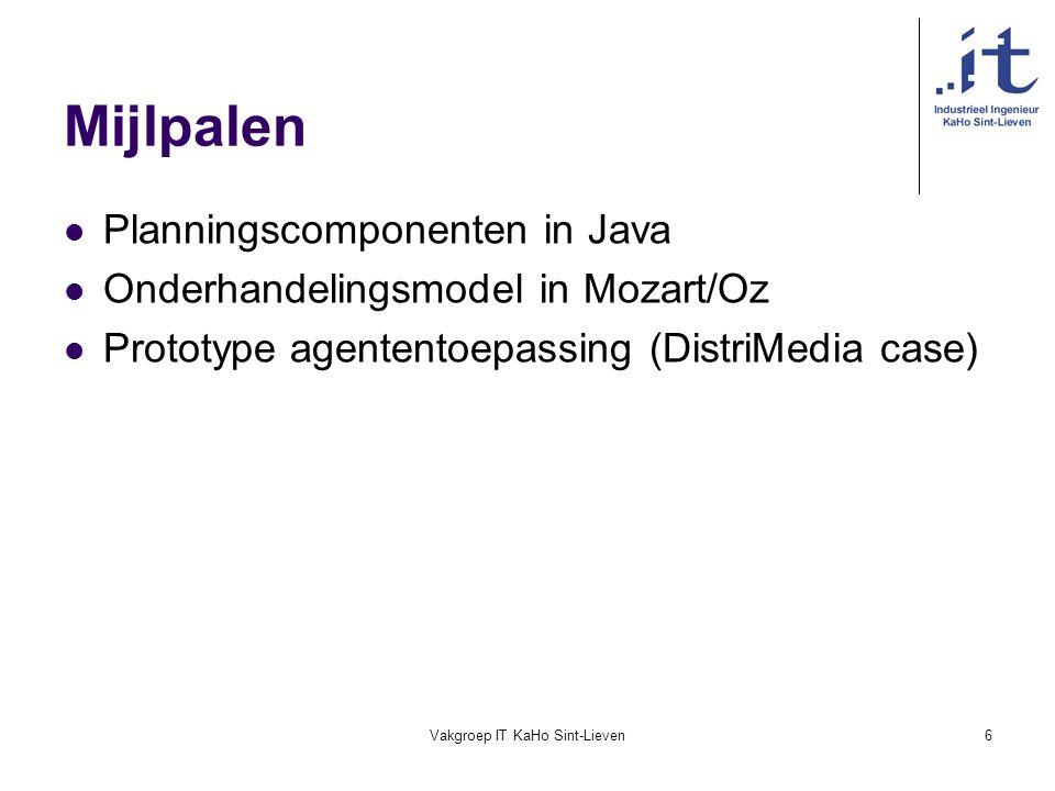 Vakgroep IT KaHo Sint-Lieven6 Mijlpalen Planningscomponenten in Java Onderhandelingsmodel in Mozart/Oz Prototype agententoepassing (DistriMedia case)