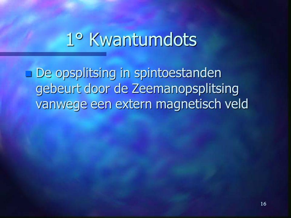 16 1° Kwantumdots n De opsplitsing in spintoestanden gebeurt door de Zeemanopsplitsing vanwege een extern magnetisch veld