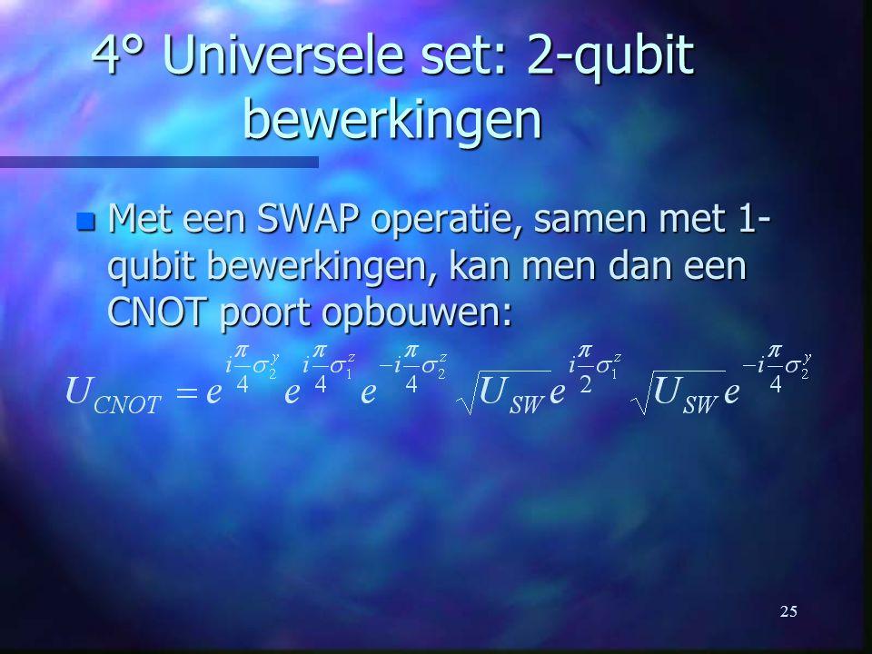 25 4° Universele set: 2-qubit bewerkingen n Met een SWAP operatie, samen met 1- qubit bewerkingen, kan men dan een CNOT poort opbouwen: