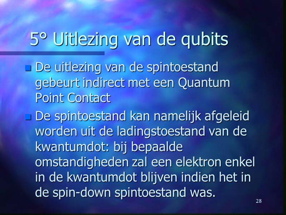 28 5° Uitlezing van de qubits n De uitlezing van de spintoestand gebeurt indirect met een Quantum Point Contact n De spintoestand kan namelijk afgeleid worden uit de ladingstoestand van de kwantumdot: bij bepaalde omstandigheden zal een elektron enkel in de kwantumdot blijven indien het in de spin-down spintoestand was.