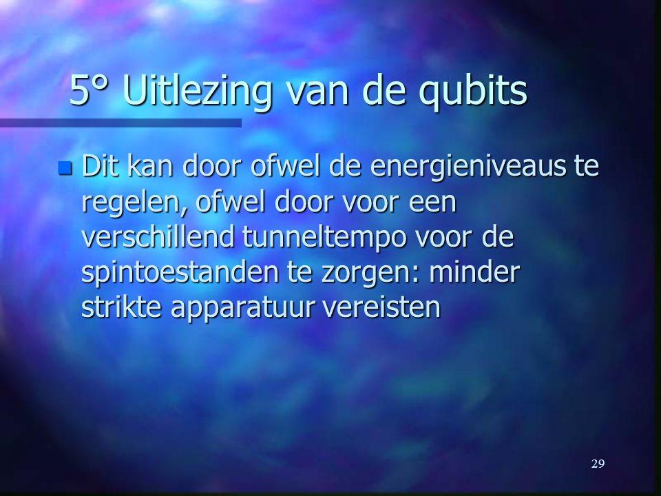 29 5° Uitlezing van de qubits n Dit kan door ofwel de energieniveaus te regelen, ofwel door voor een verschillend tunneltempo voor de spintoestanden te zorgen: minder strikte apparatuur vereisten