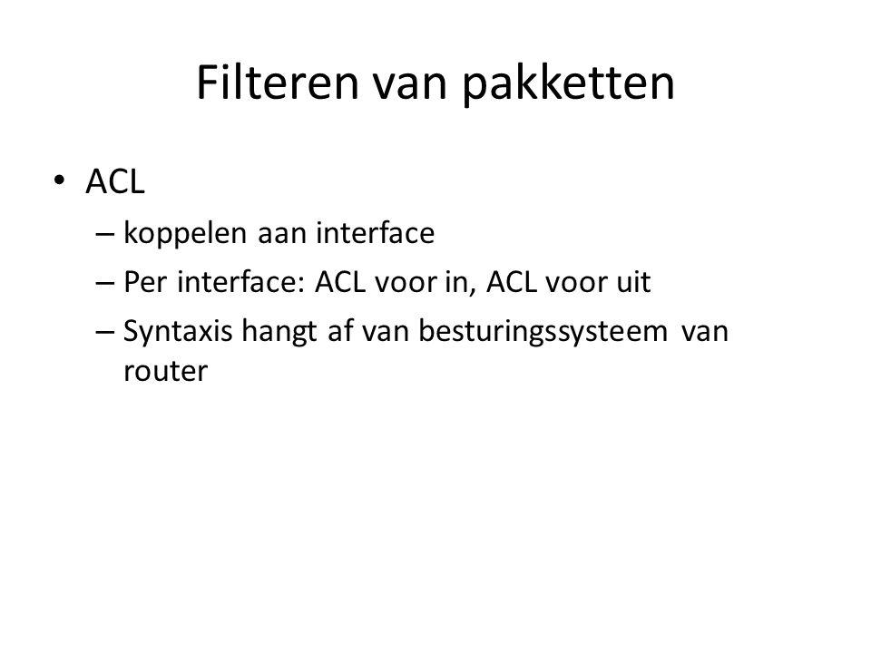 Filteren van pakketten ACL – koppelen aan interface – Per interface: ACL voor in, ACL voor uit – Syntaxis hangt af van besturingssysteem van router