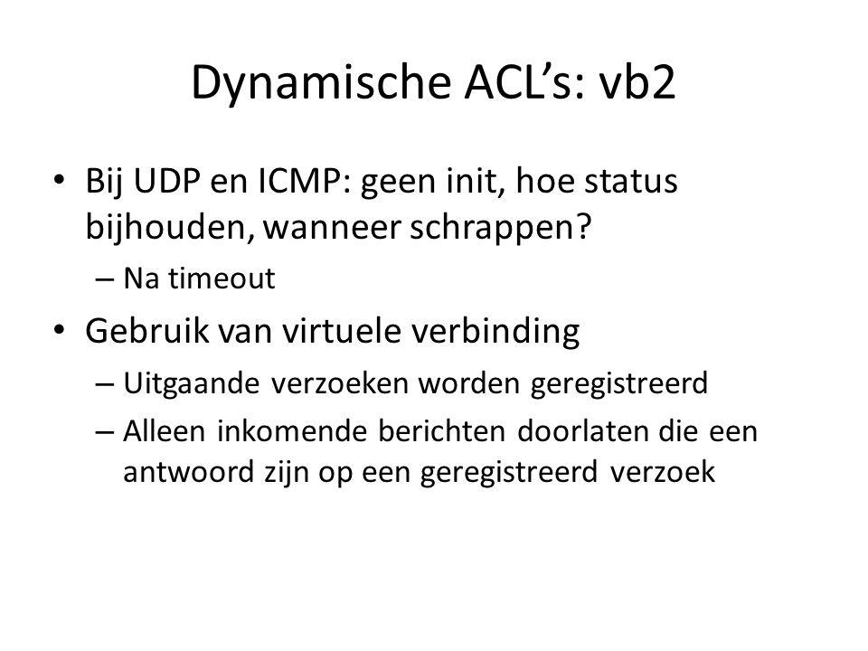 Dynamische ACL's: vb2 Bij UDP en ICMP: geen init, hoe status bijhouden, wanneer schrappen? – Na timeout Gebruik van virtuele verbinding – Uitgaande ve