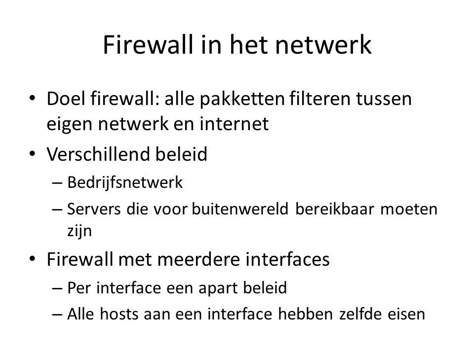 Firewall in het netwerk Doel firewall: alle pakketten filteren tussen eigen netwerk en internet Verschillend beleid – Bedrijfsnetwerk – Servers die vo