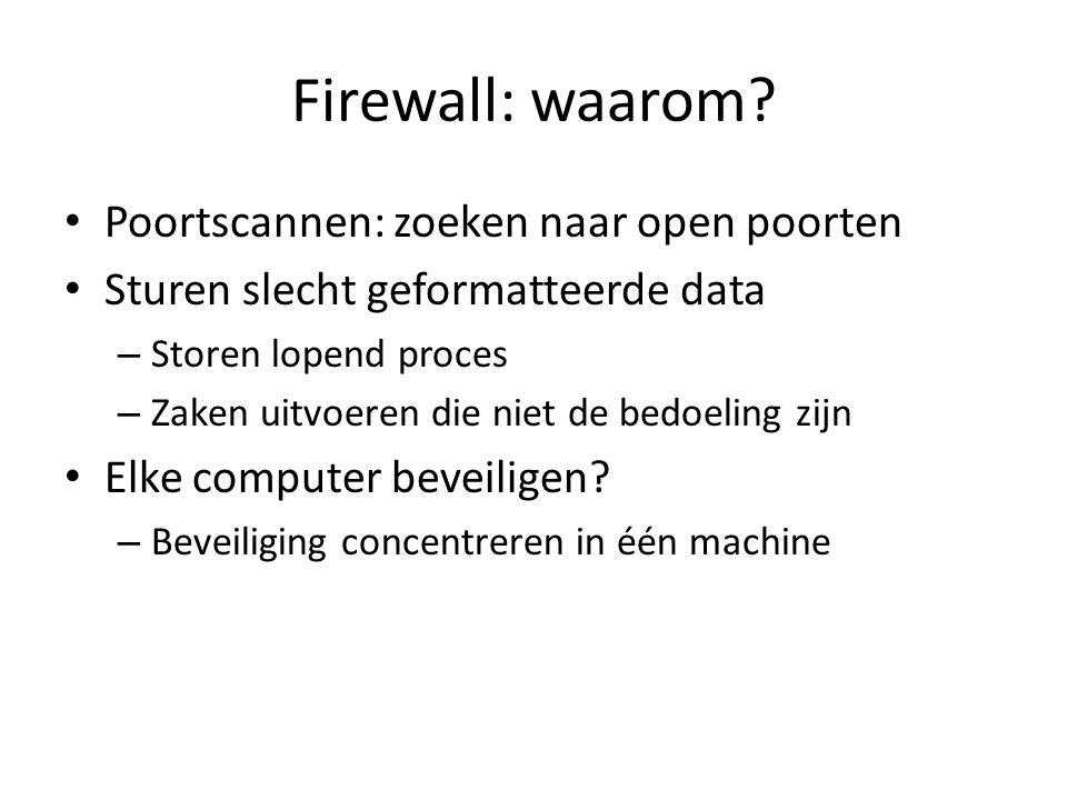 Firewall: waarom? Poortscannen: zoeken naar open poorten Sturen slecht geformatteerde data – Storen lopend proces – Zaken uitvoeren die niet de bedoel