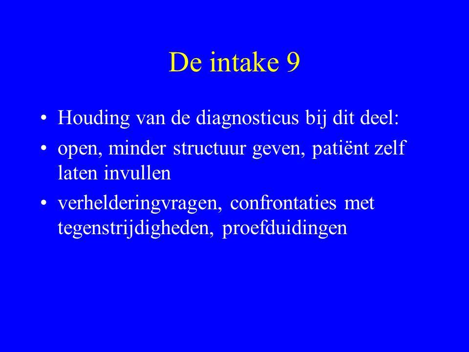 De intake 9 Houding van de diagnosticus bij dit deel: open, minder structuur geven, patiënt zelf laten invullen verhelderingvragen, confrontaties met