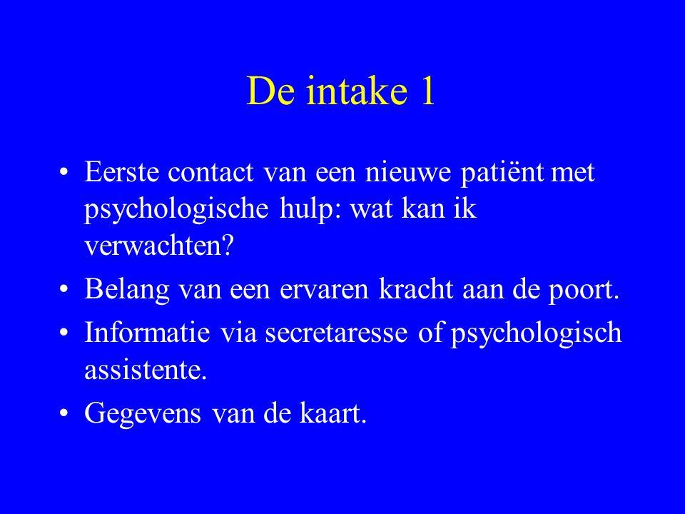 De intake 1 Eerste contact van een nieuwe patiënt met psychologische hulp: wat kan ik verwachten? Belang van een ervaren kracht aan de poort. Informat
