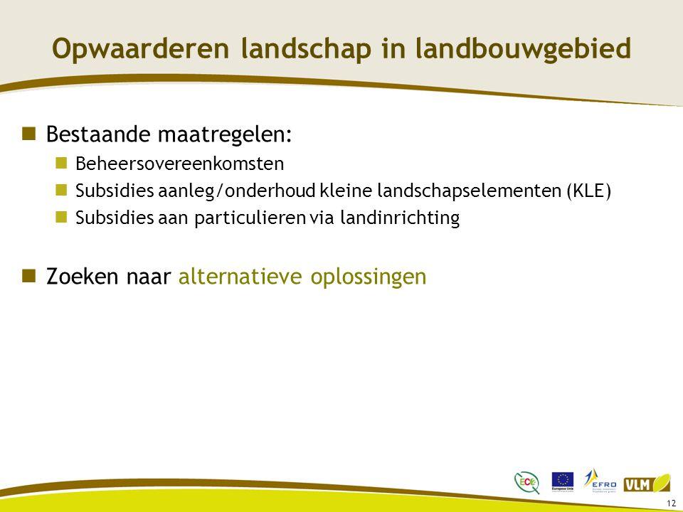 12 Opwaarderen landschap in landbouwgebied Bestaande maatregelen: Beheersovereenkomsten Subsidies aanleg/onderhoud kleine landschapselementen (KLE) Subsidies aan particulieren via landinrichting Zoeken naar alternatieve oplossingen