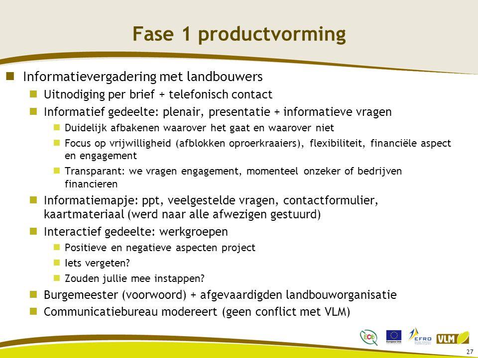 27 Fase 1 productvorming Informatievergadering met landbouwers Uitnodiging per brief + telefonisch contact Informatief gedeelte: plenair, presentatie
