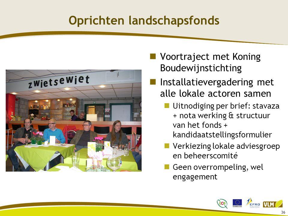 Oprichten landschapsfonds Voortraject met Koning Boudewijnstichting Installatievergadering met alle lokale actoren samen Uitnodiging per brief: stavaz