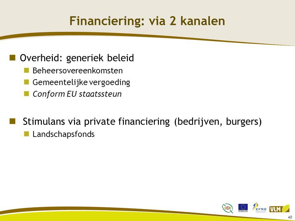 40 Financiering: via 2 kanalen Overheid: generiek beleid Beheersovereenkomsten Gemeentelijke vergoeding Conform EU staatssteun Stimulans via private financiering (bedrijven, burgers) Landschapsfonds
