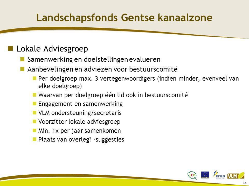 Landschapsfonds Gentse kanaalzone Lokale Adviesgroep Samenwerking en doelstellingen evalueren Aanbevelingen en adviezen voor bestuurscomité Per doelgr