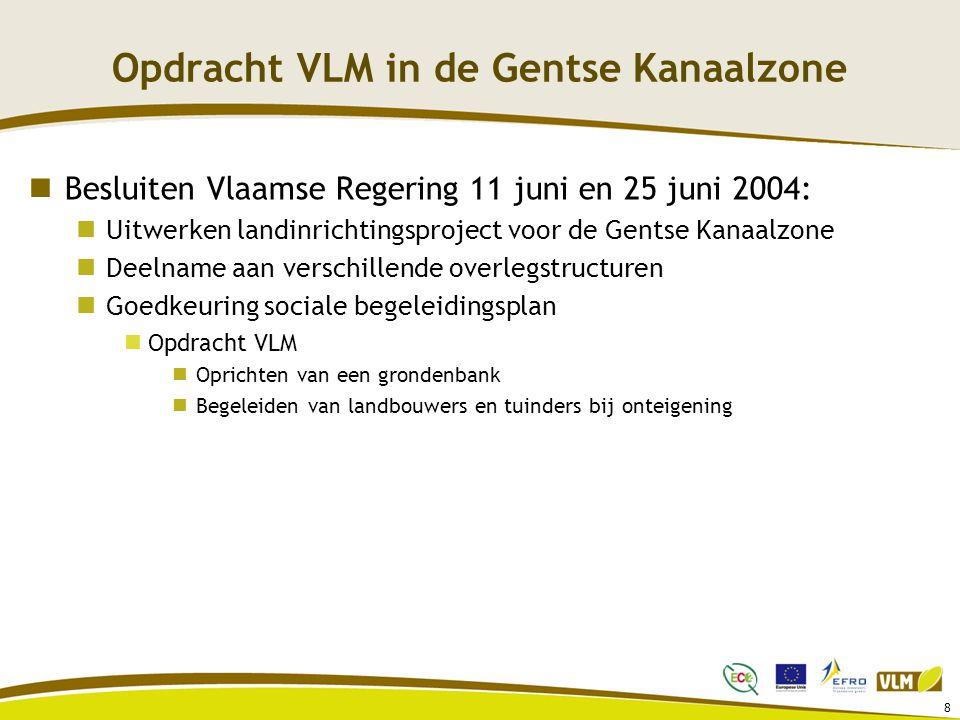 8 Opdracht VLM in de Gentse Kanaalzone Besluiten Vlaamse Regering 11 juni en 25 juni 2004: Uitwerken landinrichtingsproject voor de Gentse Kanaalzone