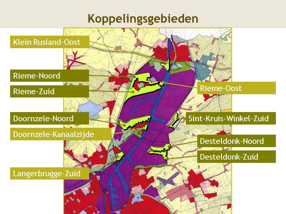 9 Koppelingsgebieden Rieme-Noord Rieme-Zuid Doornzele-NoordSint-Kruis-Winkel-Zuid Desteldonk-Noord Desteldonk-Zuid Rieme-Oost Langerbrugge-Zuid Doornz