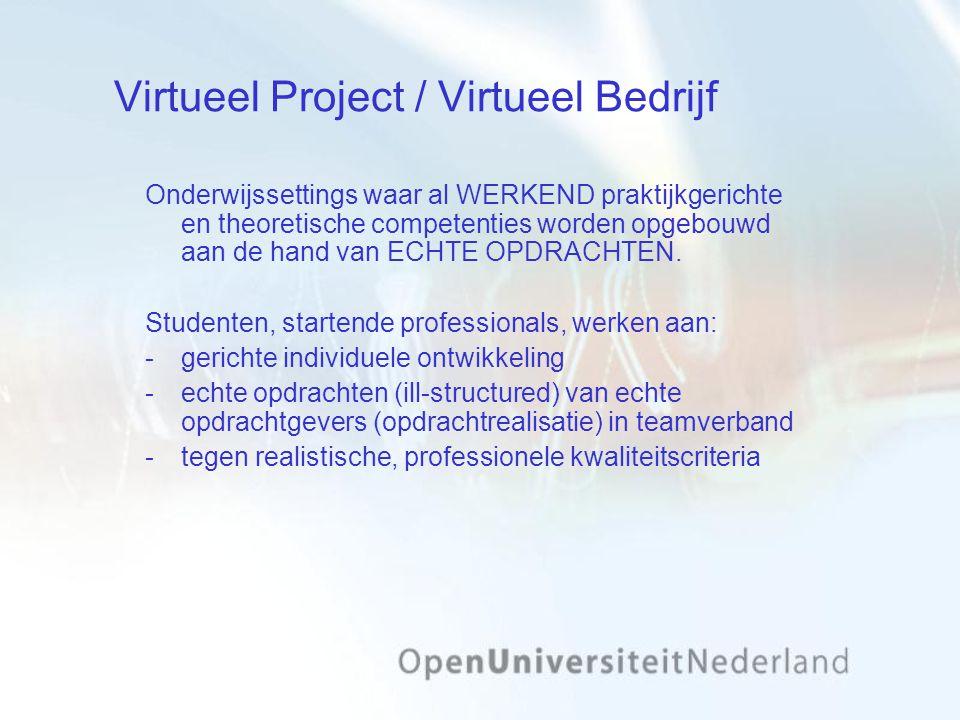 Virtueel Project / Virtueel Bedrijf Onderwijssettings waar al WERKEND praktijkgerichte en theoretische competenties worden opgebouwd aan de hand van ECHTE OPDRACHTEN.