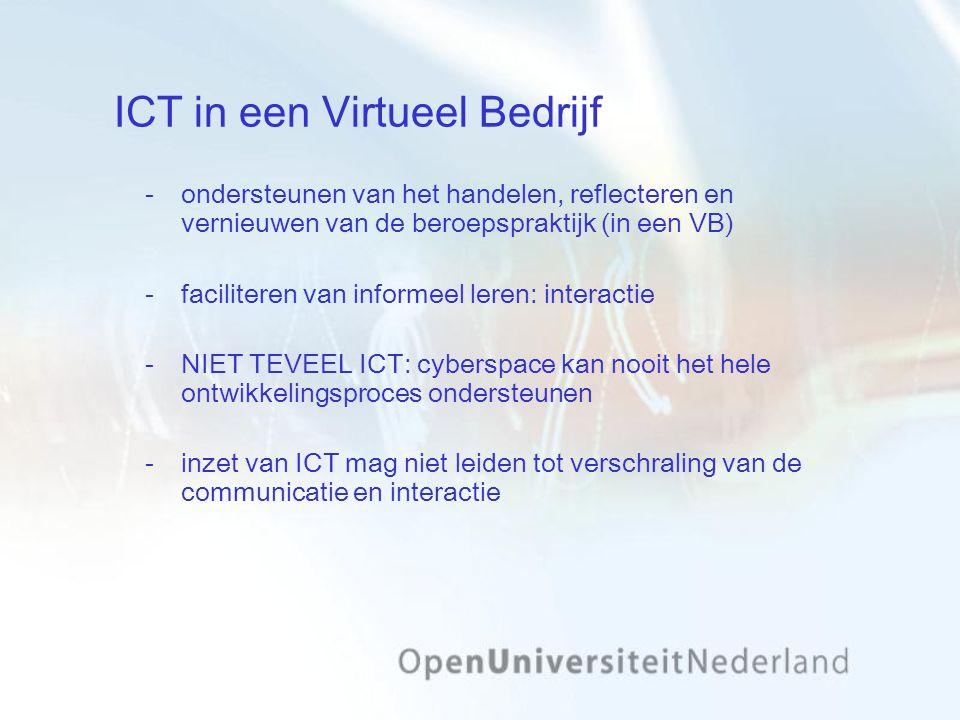 ICT in een Virtueel Bedrijf ondersteunen van het handelen, reflecteren en vernieuwen van de beroepspraktijk (in een VB) faciliteren van informeel leren: interactie NIET TEVEEL ICT: cyberspace kan nooit het hele ontwikkelingsproces ondersteunen inzet van ICT mag niet leiden tot verschraling van de communicatie en interactie