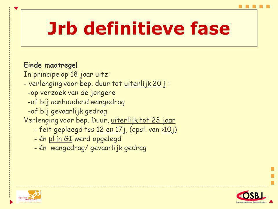 Jrb definitieve fase Einde maatregel In principe op 18 jaar uitz: - verlenging voor bep. duur tot uiterlijk 20 j : -op verzoek van de jongere -of bij