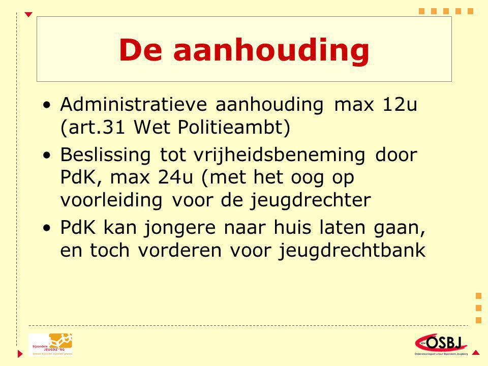 De aanhouding Administratieve aanhouding max 12u (art.31 Wet Politieambt) Beslissing tot vrijheidsbeneming door PdK, max 24u (met het oog op voorleidi